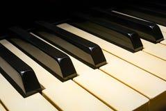Vecchia prospettiva della tastiera di piano Fotografie Stock