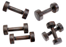 Vecchia raccolta arrugginita delle teste di legno Fotografie Stock