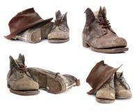 Vecchia raccolta degli stivali Fotografia Stock