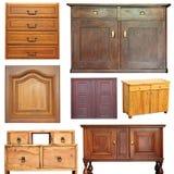 Vecchia raccolta di legno della mobilia fotografia stock