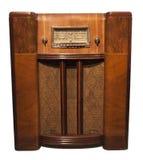 Vecchia radio dell'oggetto d'antiquariato dell'annata isolata su bianco Immagine Stock
