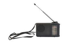 Vecchia radio di plastica nera con l'antenna Fotografie Stock Libere da Diritti
