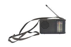 Vecchia radio di plastica nera con l'antenna Fotografia Stock