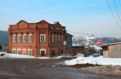 Vecchia residenza dei cittadini ricchi delle fine del XIX secolo Kamensk-Uralsky La Russia Fotografie Stock Libere da Diritti