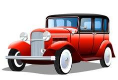 Vecchia retro automobile su fondo bianco Immagini Stock Libere da Diritti