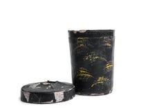 Vecchia retro forma del tubo del contenitore su fondo bianco Fotografia Stock