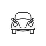 Vecchia retro linea icona, segno di vettore del profilo, pittogramma lineare dell'automobile di stile isolato su bianco illustrazione di stock