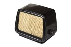 Vecchia retro radio a partire dagli anni '50 sui precedenti bianchi Fotografia Stock Libera da Diritti
