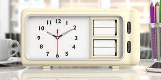 Vecchia retro sveglia con la data ed il giorno in bianco, fondo della scrivania illustrazione 3D illustrazione di stock