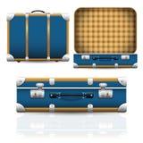 Vecchia retro valigia d'annata aperta e chiusa Immagine Stock