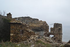 Vecchia rovina della casa di Athos Fotografie Stock Libere da Diritti
