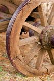 Vecchia ruota occidentale sopravvissuta rustica del veicolo del trasporto del cavallo Fotografie Stock Libere da Diritti