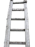 Vecchia scala d'annata di legno del cuve isolata sopra bianco Fotografie Stock Libere da Diritti