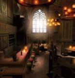 Vecchia scena dell'interno della locanda di fantasia Fotografie Stock Libere da Diritti