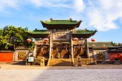 Vecchia scena della città di Yuci. Costruzione confuciana del tempio (santuario). Fotografia Stock Libera da Diritti
