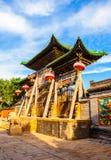 Vecchia scena della città di Yuci. Costruzione confuciana del tempio (santuario). Fotografie Stock