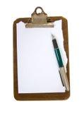 Vecchia scheda di clip con documento Fotografie Stock Libere da Diritti