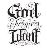 Vecchia scrittura inglese del tatuaggio della linea sottile Immagini Stock