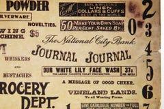 Vecchia scrittura sul documento Fotografia Stock