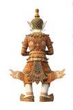 Vecchia scultura gigante tailandese su priorità bassa bianca Fotografia Stock Libera da Diritti