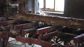 Vecchia segheria, legname tagliato da imbarcare archivi video