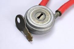 Vecchia serratura con una chiave Fotografia Stock Libera da Diritti