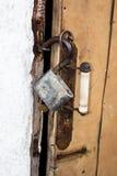 Vecchia serratura con una chiave Fotografia Stock