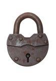 Vecchia serratura su una priorità bassa bianca (isolata). Immagine Stock