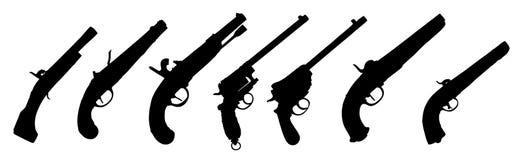 vecchia siluetta delle pistole Fotografia Stock Libera da Diritti