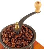 Vecchia smerigliatrice di caffè di rame Fotografie Stock Libere da Diritti