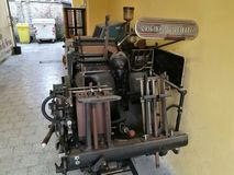 Vecchia stampatrice Heidelberg Fotografie Stock Libere da Diritti