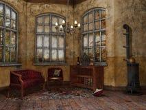 Vecchia stanza con una sedia e un sofà Fotografie Stock