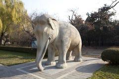 Vecchia statua cinese dell'elefante Fotografia Stock