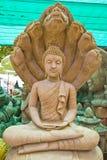 Vecchia statua di pietra del Buddha fotografia stock libera da diritti