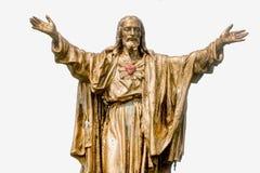 Vecchia statua dorata di Jesus Christ Fotografie Stock Libere da Diritti