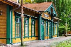 Vecchia stazione ferroviaria d'annata in Polonia/Bialowieza/ immagine stock libera da diritti