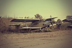 Vecchia storia URSS An2 Antonov dell'aeroplano immagini stock