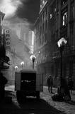 Vecchia strada a Bucarest fotografie stock