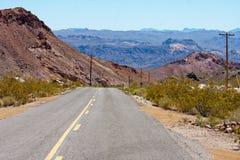 Vecchia strada principale del deserto del Nevada, canyon di eldorado, Nelson Fotografia Stock