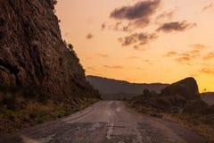 Vecchia strada su una montagna Immagini Stock Libere da Diritti