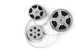 Vecchia striscia di pellicola su fondo bianco Vista superiore fotografia stock libera da diritti