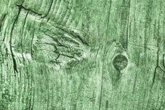 Vecchia struttura annodata incrinata stagionata di lerciume di Kelly Green Pine Wood Floorboards fotografia stock