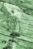 Vecchia struttura annodata incrinata stagionata di lerciume di Kelly Green Pine Wood Floorboards fotografie stock