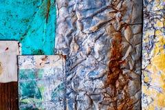 Vecchia struttura arrugginita del fondo del metallo struttura di lerciume di vecchia superficie variopinta della pittura immagine stock