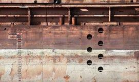 Vecchia struttura arrugginita dettagliata del fondo del guscio della chiatta fotografia stock