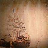 Vecchia struttura del documento del grunge della nave della vela Fotografie Stock Libere da Diritti
