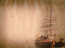 Vecchia struttura del documento del grunge della nave della vela Immagine Stock