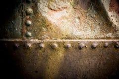 Vecchia struttura del ferro con i ribattini Fotografia Stock