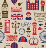 Vecchia struttura senza cuciture dei simboli delle siluette della Gran Bretagna, Immagini Stock Libere da Diritti
