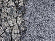 Vecchia superficie incrinata nociva contro una nuova strada asfaltata di scarico con una superficie migliore di aderenza - immagi fotografie stock